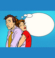 couple loving wife and confused husband vector image vector image