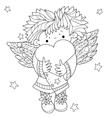Cute angel heart Valentin doodle vector image vector image