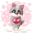 cute raccoon with pink heart vector image vector image