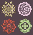 Decorative set of flowers lotus mandalas vector image vector image