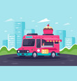flat urban van with sweets cake and ice cream vector image