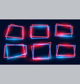 geometric rectangular neon frames set in red and vector image