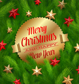 Golden labels with Christmas greetings vector image