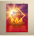 happy diwali flyer template with glowing star and vector image vector image