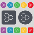 Honeycomb icon sign A set of 12 colored buttons vector image vector image