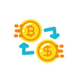 isolated bitcoin and arrows design vector image vector image