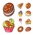 isolated object of dessert and sweet sign set of vector image vector image