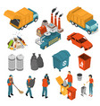 isometric garbage recycling icon set vector image vector image