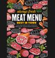 meat sausages pork beef ham salami bacon vector image vector image