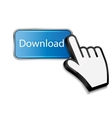 Mouse hand cursor on download button vector image vector image