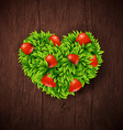 Natural background with wooden board and heart vector image vector image