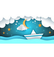 paper origami ship cloud star vector image vector image