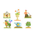 park and garden elements set man walking with dog vector image vector image