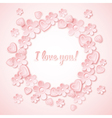pink background with valentine heart flowers vector image vector image