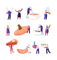 pumpkin dishes set tiny male and female vector image vector image
