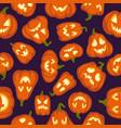 pumpkin pattern seamless halloween background vector image