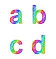 Rainbow sketch font set - lowercase letters a b c vector image vector image