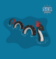 sea serpent in isometric style ocean monster vector image vector image