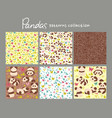set seamless patterns with cute pandas vector image vector image
