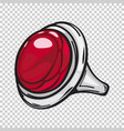 silver ring with big red stone flat design web vector image vector image