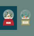 snow globe icon set elements for christmas vector image vector image