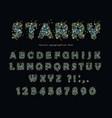 starry modern font abstract polygonal letters and vector image