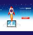 start up concept rocket flying in space vector image vector image