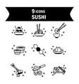 sushi oriental menu japanese food icons set line vector image