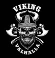viking skull with axes vector image