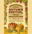 vintage autumn festival poster vector image vector image