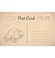 Vintage postcard with car and clouds vector image