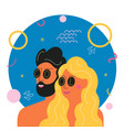 with bearded man and blonde long hair woman vector image