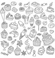set of different sweets vector image