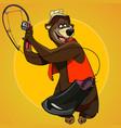 cartoon character bear fisherman caught the bait vector image