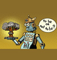 retro robot and a nuclear explosion war and vector image
