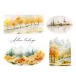 a watercolor set of autumn landscapes