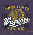 athletic style warriors apparel design vector image vector image