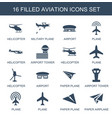 aviation icons vector image vector image