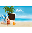 Beach with a palm tree a photograph and a beach vector image vector image