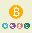 bitcoin digital currency dollar euro pound vector image vector image