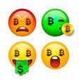 bitcoin emoji crypto currency character set vector image