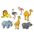 Cartoon african wild animals and birds characters vector image vector image
