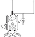 Cartoon cell phone holding a sign vector image vector image