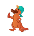Cartoon platypus thumb up character vector image