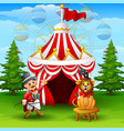 cartoon tamer and lion on the circus tent backgrou vector image