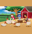 children collecting eggs from the farm vector image vector image