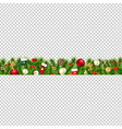 christmas border isolated transparent background vector image vector image