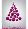 Christmas tree with magenta christmas balls vector image vector image