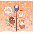 cute owls on the tree Christmas background vector image vector image