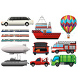 Different types of transportations vector image vector image